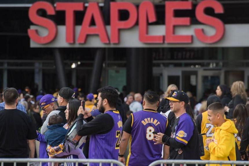 "Fans arrive to attend the ""Celebration of Life for Kobe and Gianna Bryant"" service at Staples Center in Downtown Los Angeles on Feb 24, 2020."