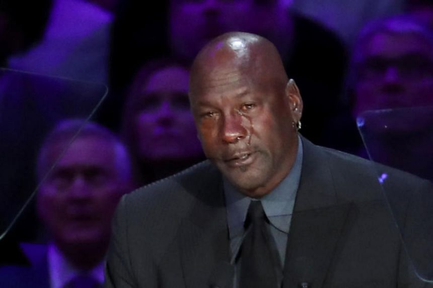 Former basketball player Michael Jordan reacts as he speaks during a public memorial for NBA great Kobe Bryant at the Staples Center in Los Angeles, on Feb 24, 2020.