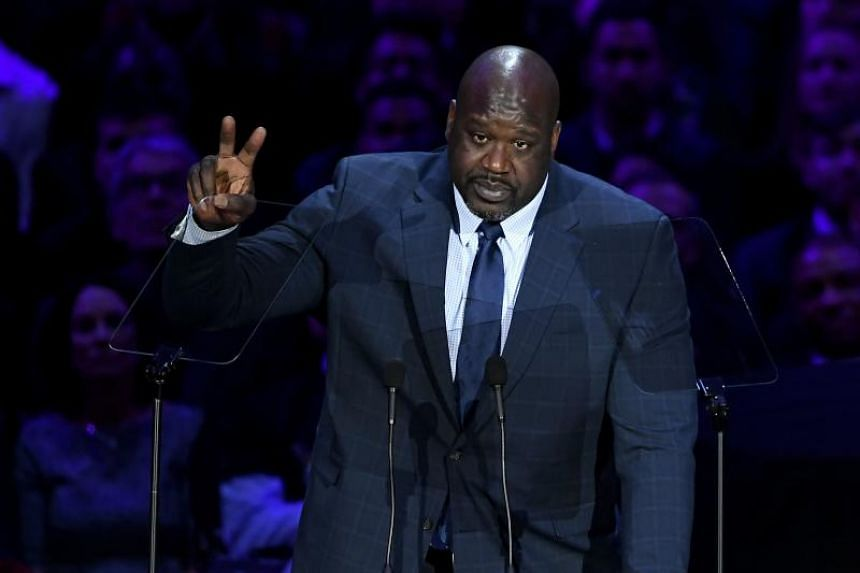 Retired US basketball player Shaquille O'Neal speaks during The Celebration of Life for Kobe & Gianna Bryant at Staples Center in Los Angeles, on Feb 24, 2020.
