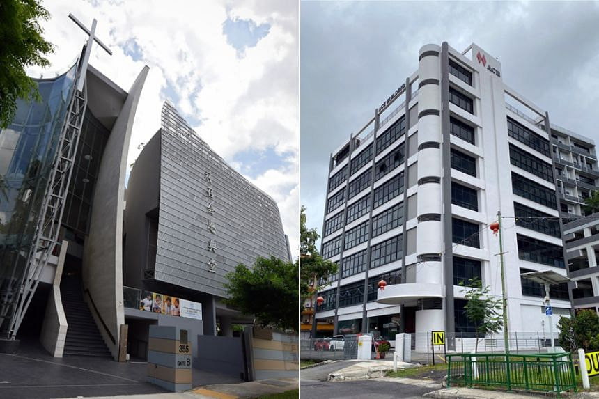 The Grace Assembly of God church's premises in Tanglin (left) and the Ace Building along Paya Lebar Road, where The Life Church and Missions is located on the second floor.