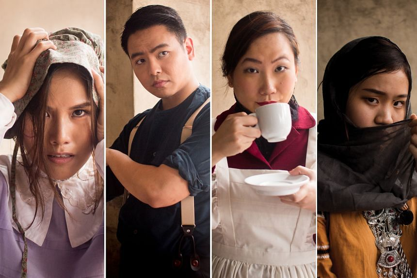 The cast of Hurstville: The Heir includes (from left) Rachel Chin as the village's mad woman, Jax Leow as the carpenter, Jane Chia as the apothecary and Sherilyn Tan as the gypsy.