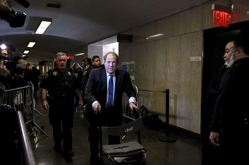 Harvey Weinstein arrives at the State Supreme Court in Manhattan on Feb 24, 2020.