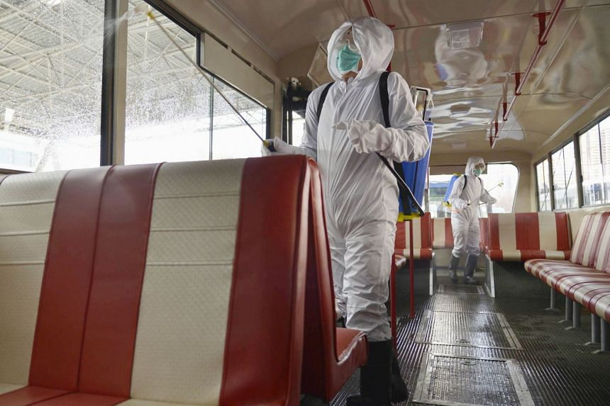 A trolley bus is disinfected amid fears over the spread of the coronavirus in Pyongyang, North Korea, on Feb 22, 2020.