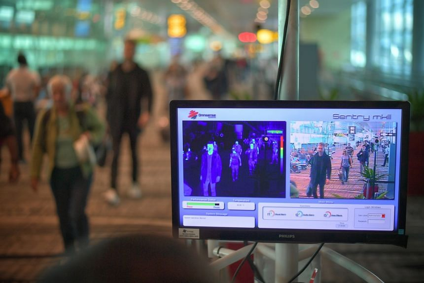 A thermal scanner in the arrival area of Changi Airport Terminal 3  on Feb 14, 2020. On Feb 23, the offender was spotted attempting to leave Singapore, and was warned that he had breached the requirements of his notice and could face penalties. But h