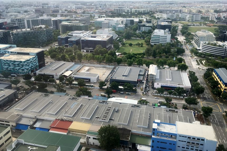A view of low-rise industrial buildings in Singapore on Jan 14, 2020.