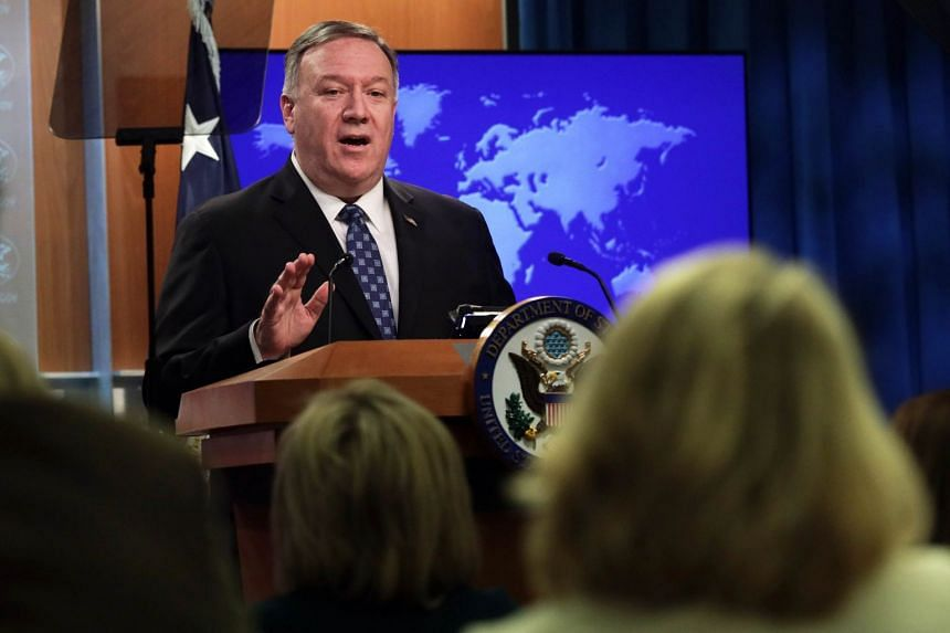 Pompeo speaks during a news briefing at the State Department Feb 25, 2020 in Washington, DC.