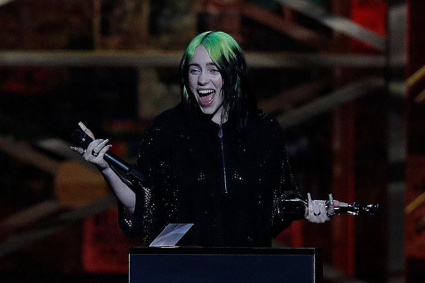 Singer-songwriter Billie Eilish at the Brit Awards in London earlier this month, where she performed the latest James Bond theme.