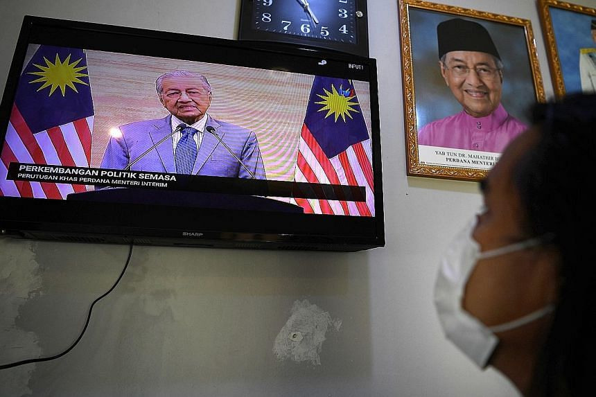 A live television broadcast of interim Prime Minister Mahathir Mohamad's special address to the nation yesterday. In his speech, he apologised to Malaysians twice for the ongoing political turmoil in the country.