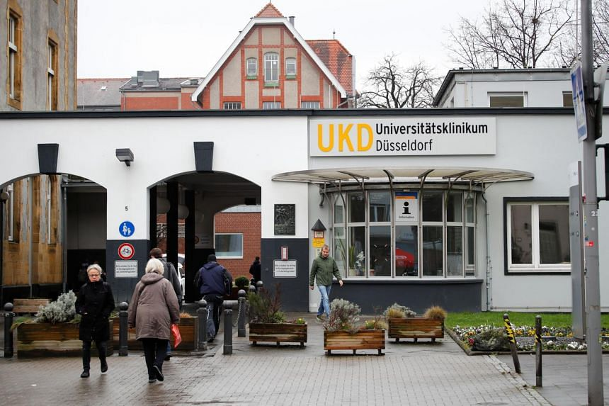 The Duesseldorf university clinic UKD, where a German tourist is being treated after he was tested positive for the coronavirus following his stay in the Italian city of Milan, in Duesseldorf, Germany, on Feb 26, 2020.