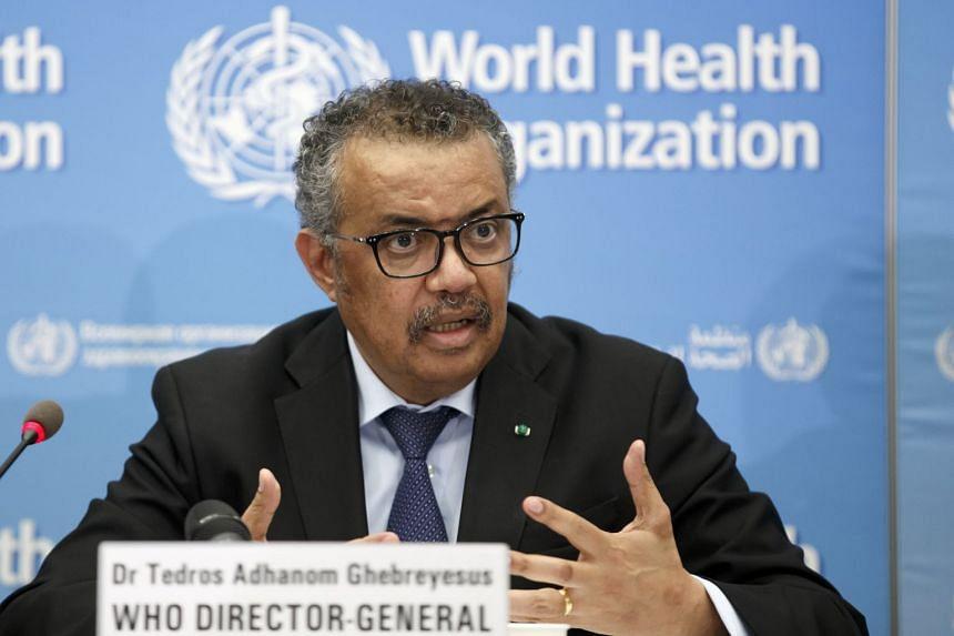 WHO chief Tedros Adhanom Ghebreyesus speaks during a coronavirus press conference in Geneva.