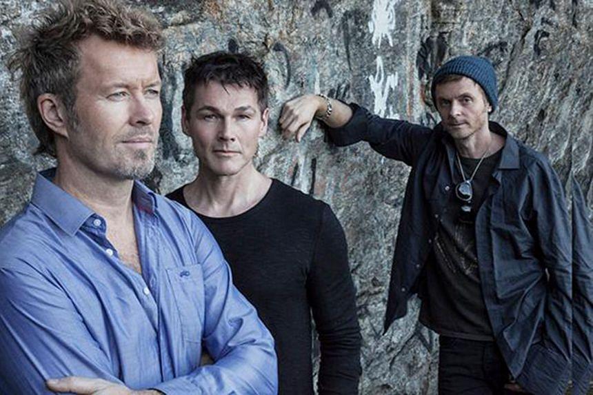 (From left) Magne Furuholmen, Morten Harket and Paul Waaktaar-Savoy of Norwegian band A-ha.