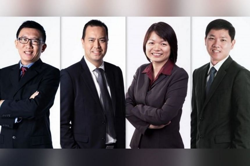 (From left) New-appointed chief risk officer Jin Yuen Yee, Choo Yong Cheen, Liew Tzu Mi and Bryan Yeo, CIOs for private equity, fixed income and public equities, respectively.