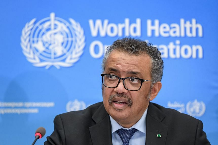 WHO chief Tedros Adhanom Ghebreyesus gives a press conference on the situation regarding Covid-19.
