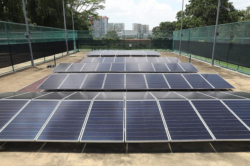 These solar panels are part of SP Group's trial off-grid system, which uses solar energy to charge up a hydrogen fuel cell, an emerging technology that may help Singapore reduce its fossil fuel reliance.