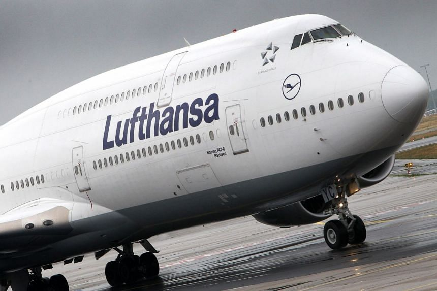 A 2018 photo shows a Lufthansa plane at Frankfurt am Main airport in western Germany.