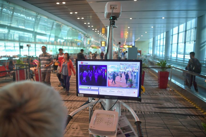 A thermal scanner at the arrival area of Changi Airport Terminal 3 on Feb 14, 2020.