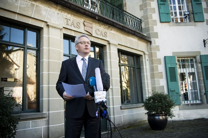 CAS secretary-general Matthieu Reeb announcing the decision taken in the arbitration procedure of the case of Chinese swimmer Sun Yang, in Lausanne, Switzerland on Feb 28, 2020. Sun has been banned for eight years.