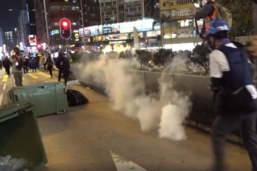 Hong Kong police fired tear gas to disperse protesters on Feb 29, 2020.