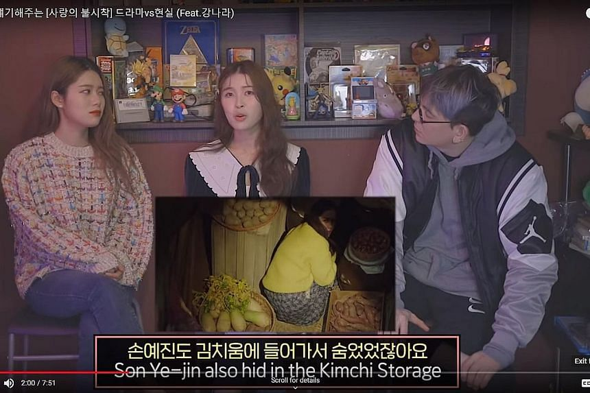Above: The hit series is about a South Korean heiress (Son Ye-jin), who accidentally crash-lands in North Korea - and into the life of North Korean elite soldier (Hyun Bin). Left: In another interview, Ms Kang, who served as a consultant for the show