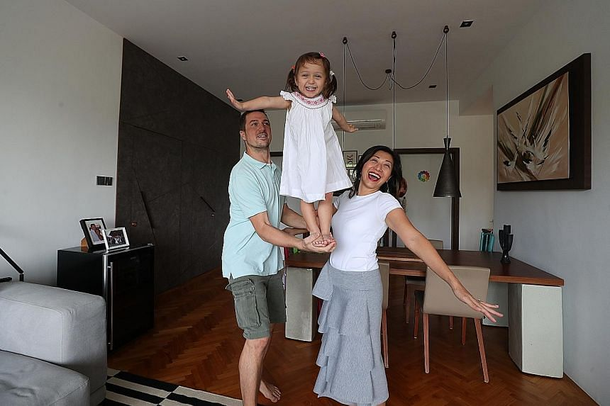 """Ms Fiona Wong-Kautz with her husband Till Oliver Kautz and daughter Sophie Rae Kautz. """"Each time I scour the property market, it's like looking at possible canvases to rework and to beautify,"""" says the leadership development and executive coach, who has b"""