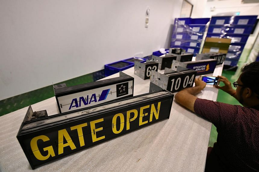 Capsules from the analogue boards displaying individual letters, the time, airlines, flight information, and numbers on display inside the storage facility at Global Specialised Services Warehouse on Feb 26, 2020.