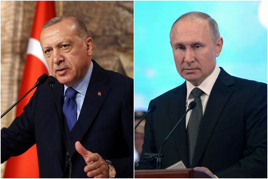 Turkish President Recep Tayyip Erdogan (left) is due to pay a one-day visit to Russia on March 5, 2020.
