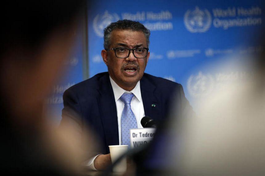 Director general of the World Health Organisation Tedros Adhanom Ghebreyesus speaks during a news conference on the coronavirus in Geneva, Switzerland, on March 2, 2020.