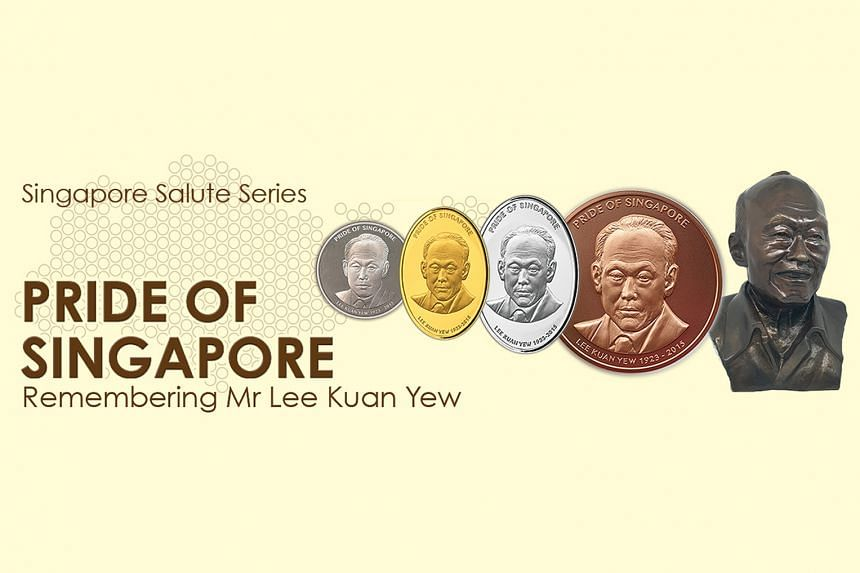 The Pride of Singapore range featuring Mr Lee Kuan Yew comprised four commemorative gold, silver and base-metal medallions, as well as made-to-order copper busts.
