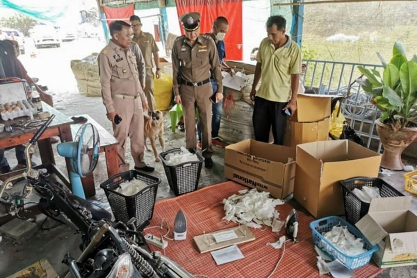 Police found six workers sorting out used face masks and ironing them before folding them in boxes to look like new, unused ones.