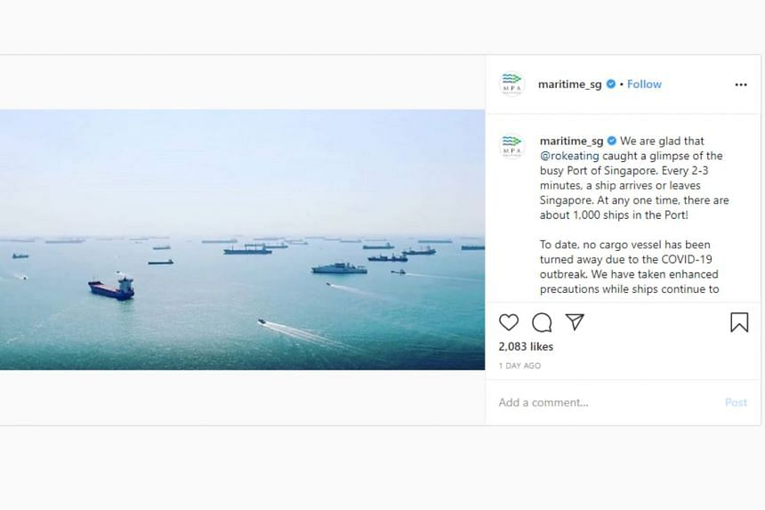A screenshot of Maritime Port Authority's Instagram post on March 3, 2020, debunks Irish singer Ronan Keating's claim that ships near Singapore were not allowed to dock because of the coronavirus.