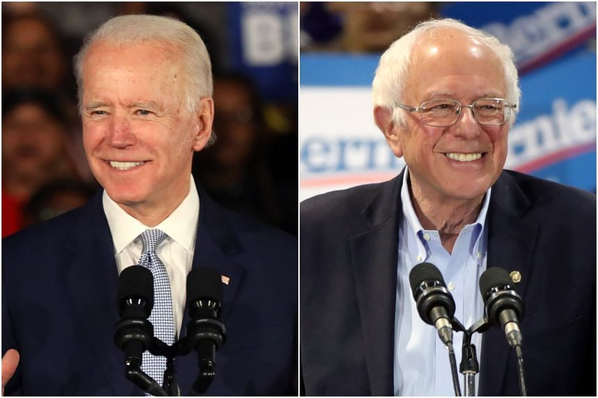 Mr Joe Biden (left) won the Democratic primaries in Virginia and North Carolina while Mr Bernie Sanders won his home state of Vermont.