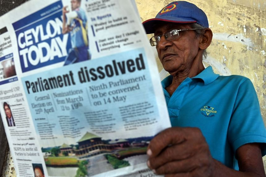 A newspaper cover report on Sri Lanka's dissolution of Parliament. President Gotabaya Rajapaksa received the power to dissolve the 225-member legislature as it completed 41/2 years of its five-year term on Sunday.