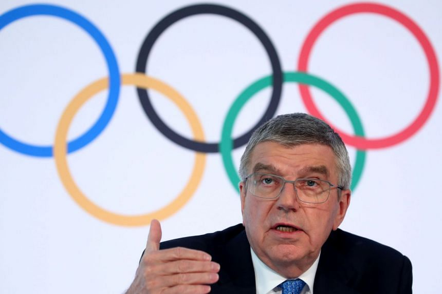 IOC president Thomas Bach attends a news conference after the IOC Executive Board meeting.