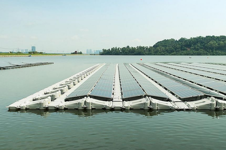 When the floating solar photovoltaic system at Tengeh Reservoir is ready, Marina Barrage and the PUB's water treatment plants - Choa Chu Kang, Bedok, Chestnut, Lower Seletar and Woodleigh - can be fully powered by renewable energy.