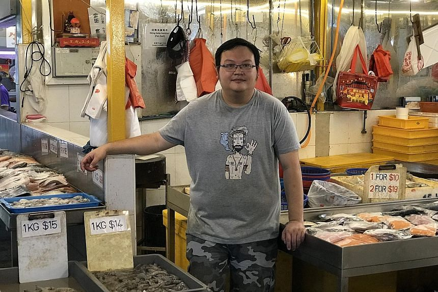 Mr Raymond Sim, 33, who sells fresh seafood in the wet market at Block 16 Bedok South Road said he will apply for the Hawkers' Productivity Grant to buy electric fish scalers. They will halve the time he spends on de-scaling fish by hand, which can t