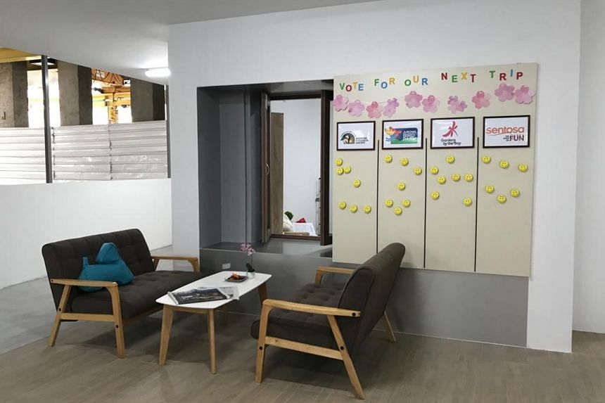 A mock-up of a communal living room for assisted-living flats.