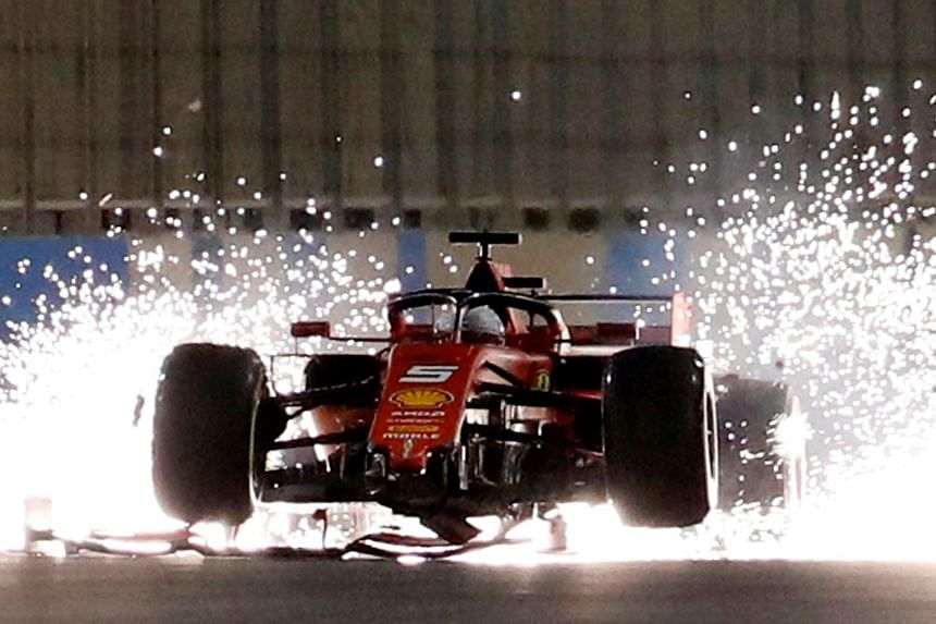 Ferrari's Sebastian Vettel with a damaged car during the Formula One F1 Bahrain Grand Prix in Bahrain on March 31, 2019. Depending on the outcome, refunds could be offered or more tickets put on sale.