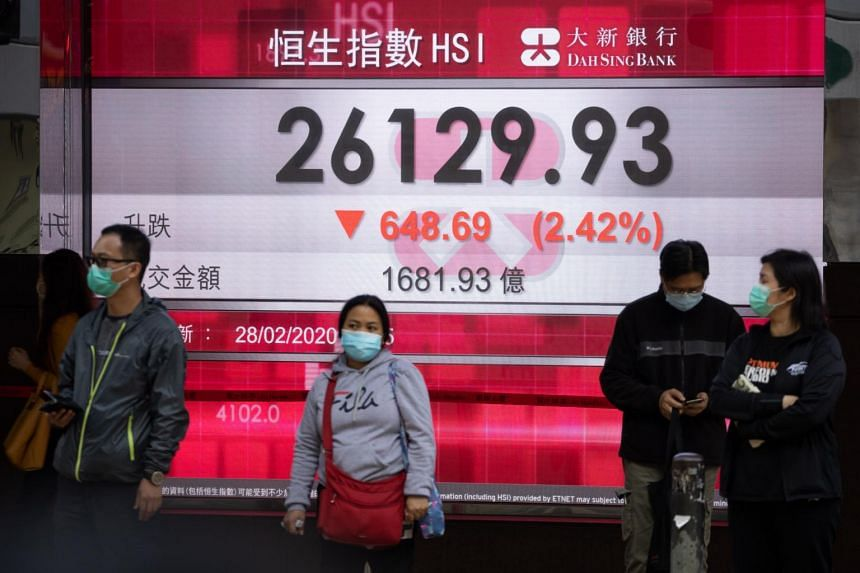 People walk past an electronic display showing the closing figure of the Hang Seng Index in Hong Kong, on Feb 28, 2020.