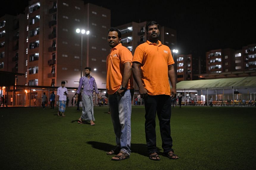 Bangladeshi Shafikul Islam (left), 31, and Indian K. Deivasigamani, 35, are two of Migrant Workers' Centre foreign worker ambassadors who help to disseminate accurate information on the ground in a timely manner.