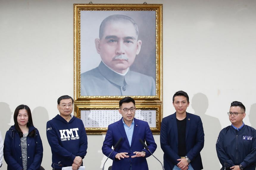 Kuomintang party chairman Chiang Chi-chen (centre) speaking after his re-election in Taipei on March 7, 2020.