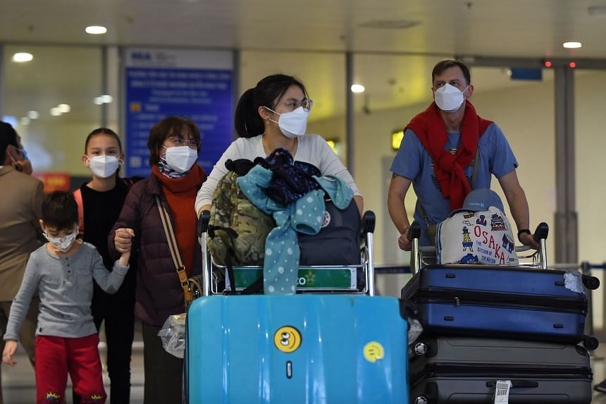A photo taken on Feb 2, 2020, shows travellers at Noi Bai International Airport in Hanoi.
