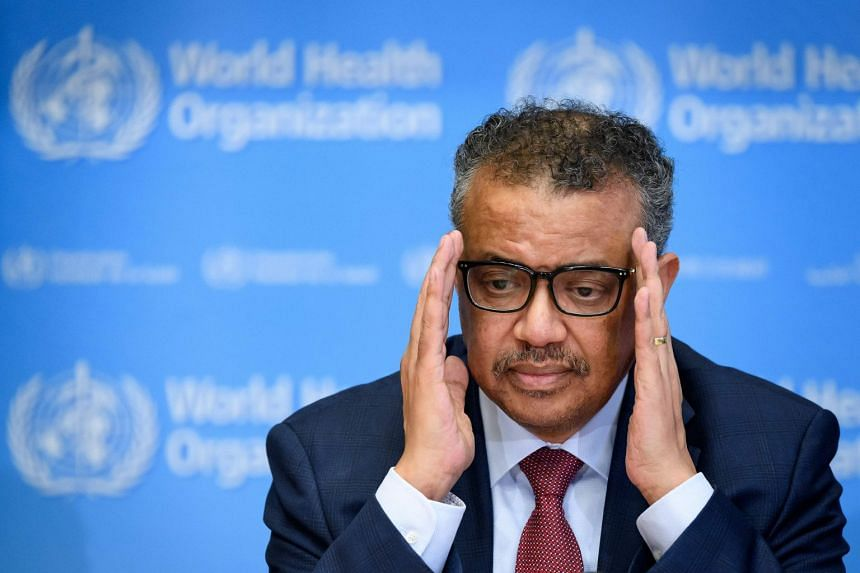 WHO chief Tedros Adhanom Ghebreyesus attends a Covid-19 press briefing at WHO headquaters in Geneva.