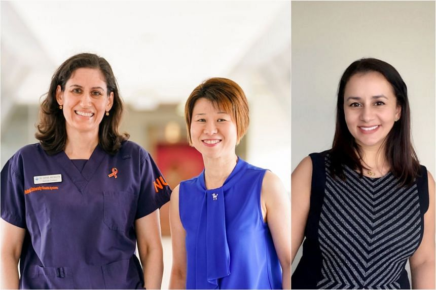 (From left) The National University Hospital's head and senior consultant of the division of infectious diseases Associate Professor Sophia Archuleta, chief operating officer Clara Sin and director of hospital epidemiology Natasha Bagdasarian.