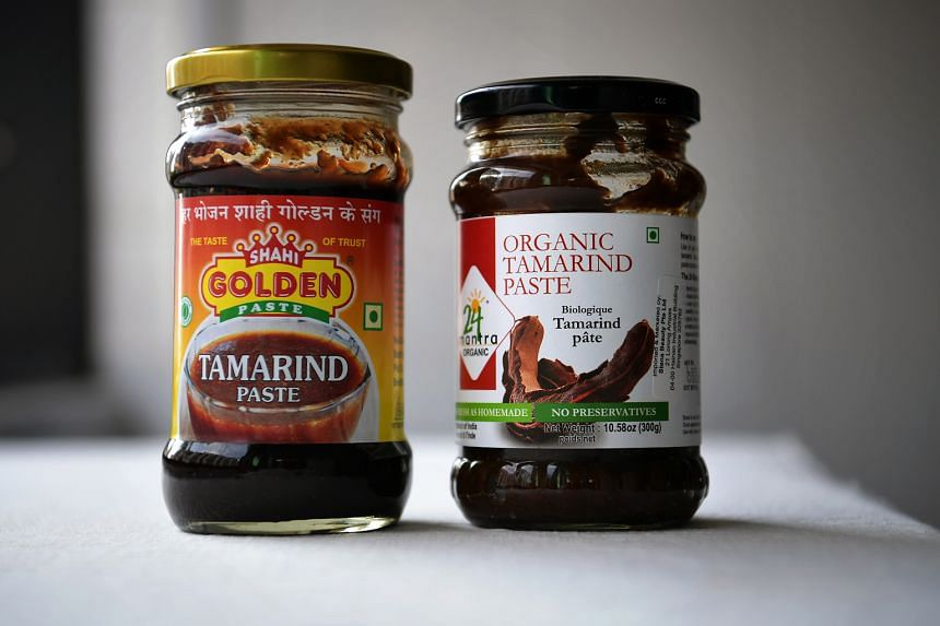 Ingredients include tamarind paste (above) and sambal oelek, Thai chilli paste or Lao Gan Ma chilli.