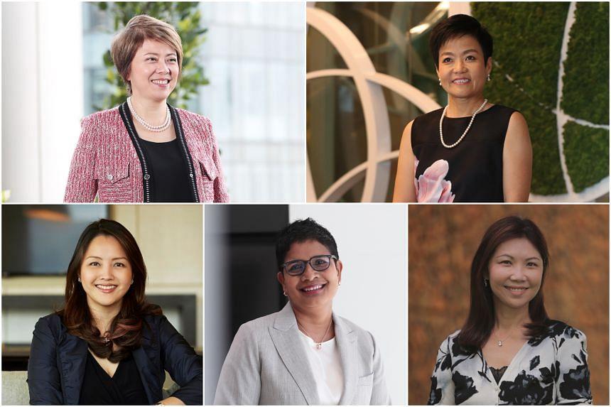 Clockwise from top left: Ms Ong Yen Leng, Ms Deborah Heng, Ms Lee Wong, Ms Ana Dhoraisingam and Ms Jacquelyn Tan.