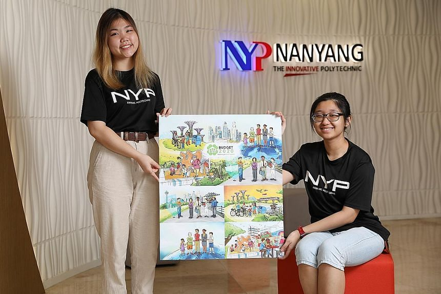 Ms Feliza Ng (left) and Ms Quek Chew Hong were given the task of coming up with four cover illustrations relating to Singapore's economy and jobs, sustainability, strong partnerships in society and taking care of people, from the young to the old.