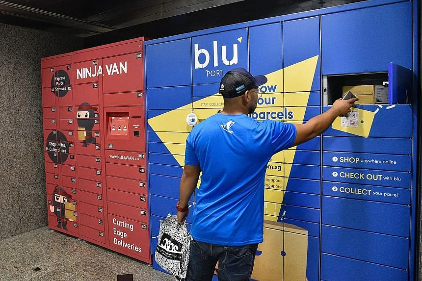 A blu employee delivering a parcel to a Junction 8 locker station in Bishan. The local logistics start-up's CEO, Mr Prashant Dadlani, says the roll-out in public estates will complement existing networks and increase efficiency, productivity and prov