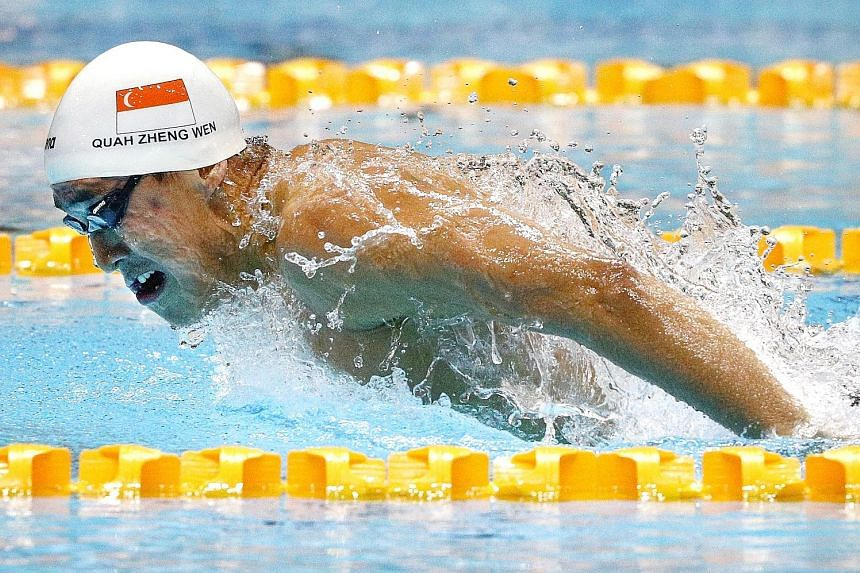 Singapore's Quah Zheng Wen en route to winning the SEA Games 200m fly final. He won six golds in December and continued his winning ways at the Pac-12 Championships.