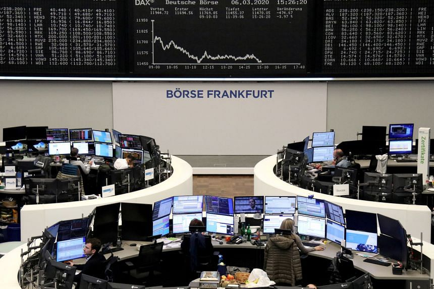 A photo taken on March 6, 2020 shows the German share price index DAX graph at the stock exchange in Frankfurt.