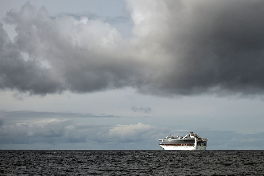 The Grand Princess cruise ship, operated by Princess Cruises, seen off the coast of San Francisco, California on March 8, 2020.